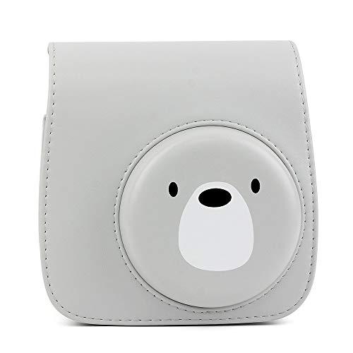Wogozan Mini Camera Case for Fujifilm Instax Mini 9 8 8+ Instant Film Camera Premium PU Leather with Shoulder Strap (Gray Cute Bear) ()