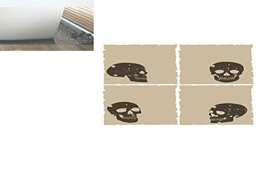 Decorative Privacy Window Film/Skull Figure on Murky Flat Framework Halloween Crossbones Spooky Monster Image/No-Glue Self Static Cling for Home Bedroom Bathroom Kitchen Office Decor Tan Dark Taupe
