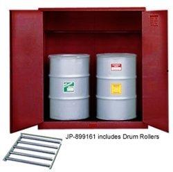 Justrite 899161 Sure-Grip EX Steel 2 Door Manual Vertical Drum Flammables Storage Cabinet with Drum Rollers, 110 Gallon Capacity, 59