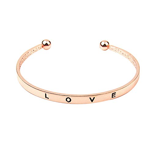 Bsjmlxg 1PCS Fashion Style Hand Love Letter Cuff Bangle Jewelry, Bridal Wedding Prom Party Pageant - Mothers Personalized Bracelet Semi Precious