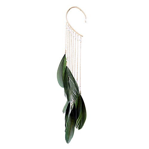 L'vow women' Crystal Beads Feather Earrings Dangle Drop Cuff Pearl Tassel Earring (Green-002)