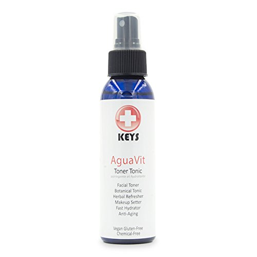 Keys AguaVit All Natural, Chemical-Free, Organic Vegan Botanical Restorative Toner Tonic, Spray Refresher, Fast Skin Hydrator, Makeup Setter, Light Fresh Aromatherapy, 4 ounces ()