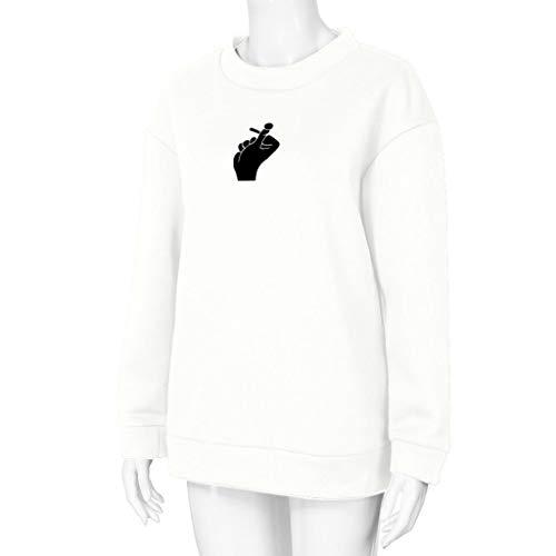 Mujer Invierno Para Carta Mujer Jerséis Blusa Capucha Grande Largas Luckycat Mujer Talla otoño Impresión De Tops Sudaderas Camisetas Con Blanco vx5w0qP