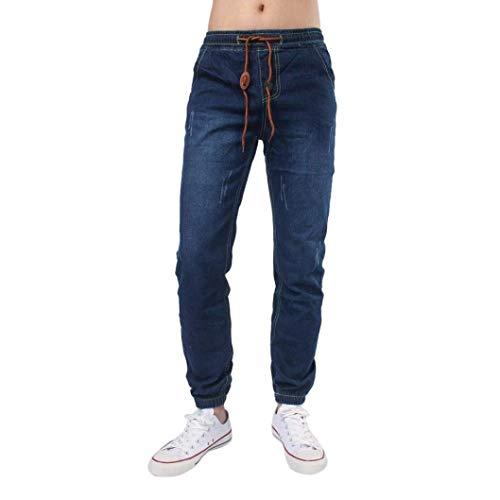 Casual Uomo Dunkelblau Comfy In Da Jeans Vintage Denim Stretta Skinny Pantaloni Coulisse Huixin Con Z7FaqwwI