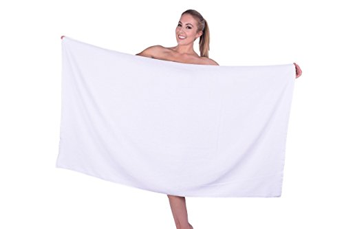 Puffy Cotton Hotel & Spa Luxury Plush Velour Large Beach Towel Bath Sheet, Super Soft and Absorbent - White - Set of 1 (Best Bath Towels Australia)