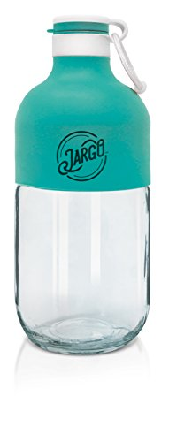 JarGo by Zing Anything, Portable Drinking Glass Bottles, Transform Mason Jar Bottles, Stylish Mason Jar Bottles, Glass Jars, Canteen Style Jars, Carry Loop, Leak-Proof Chug Top, 23 oz., Teal