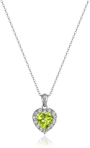 Platinum Plated Sterling Silver Genuine Peridot and White Topaz Halo Heart Pendant Necklace, - Plated Sterling 8mm Peridot