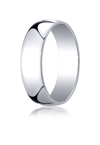 - Men's 14K White Gold 6mm Low Dome Light Comfort Fit Wedding Band Ring, Size 8.5