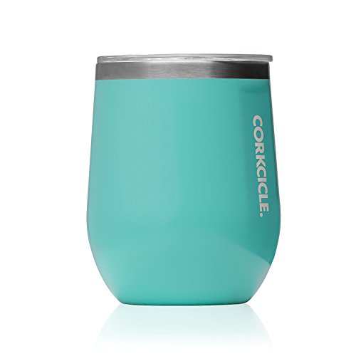 Liquid 25 Oz Plastic Bottle - Corkcicle 12 oz Triple-Insulated Stemless Glass (Perfect for Wine) - Gloss Turquoise
