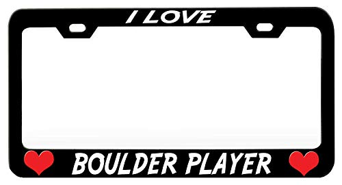 XYcustomBest Matt Black Car Navy License Plate Frame, Personalized Car Tag Holder for Front/Back Vehicle, I Love Boulder Player (1), Cool License Plate Border GM Front/Back Vehicle
