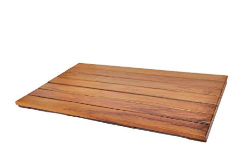 (Extra Large Grade A Teak Bath Mat with Non Slip Grips   Mildew Resistant Teak Shower Mat Treated with Natural Teak Oil   Made in Indonesia with Legally Sourced Wood   31