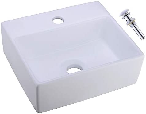 Small Bathroom Sink 13 x11.8 Delle Rosa Rectangle Above Counter Ceramic Bathroom Vessel Vanity Sink Art Basin with Drainer