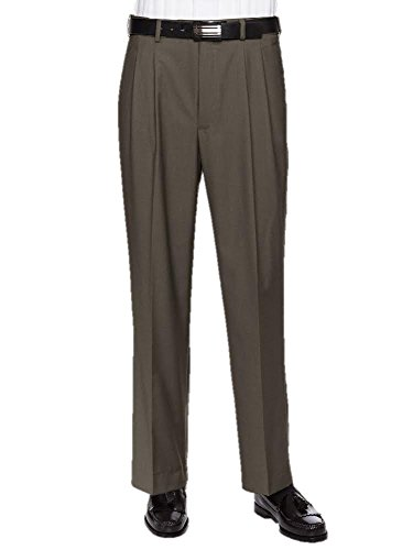 Giovanni Uomo Mens Pleated Front Expandable Waist Dress Pants Olive 36W x 32L