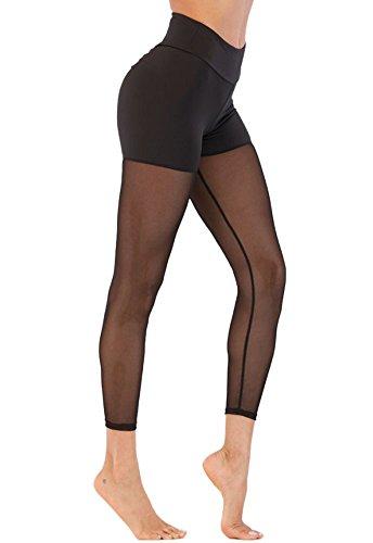部心配チューブAngcoco Women's High Waisted See Through Butt Lifting Stretch Yoga Leggings