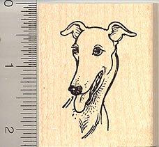 Smiling Greyhound Dog Rubber Stamp - Wood - Rubber Wood Stamp Dog