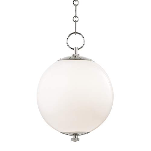 Hudson Valley MDS700-PN Sphere No.1 Pendant, 1-Light 100 Watts, Polished Nickel ()