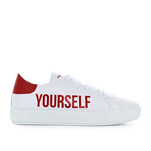 Pinko Scarpe Da Donna Accanita Sneaker Bianco Rosso In Pelle Primavera Estate 2018