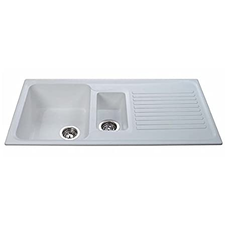 CDA AS2WH 1.5 Bowl Composite Kitchen Sink In White - Fully ...