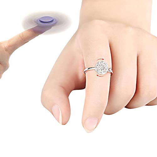 YVVO White Wrap Open Ring - Adjustable Spinner Cubic Zirconia Solitaire Wedding Engagement Ring Gift by YVVO (Image #6)