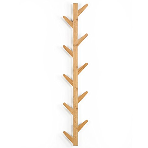 LANGRIA Tree-Shaped Coat Rack Hanger Wall Mounted Design with 10 Detachable Hooks Eco-Friendly Waterproof Bamboo Body Embedded Screws Easy to Clean, for Jacket, Hat, Umbrella, Scarf, Bags, Holds 10kg ()