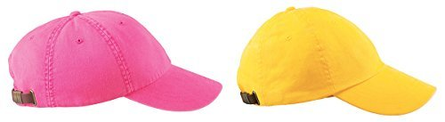 (Adams 6-Panel Low-Profile Washed Pigment-Dyed Caps Set_hot pink / lemon_One Size)