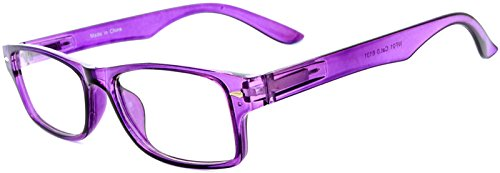 Narrow Retro Fashion Style Rectangular Purple Frame Clear Lens Eyeglasses