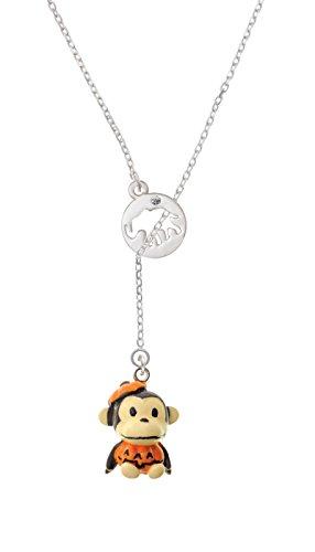 Resin Monkey in Pumpkin Costume Elephant Disc Lariat Necklace (Hindu Halloween Costumes)