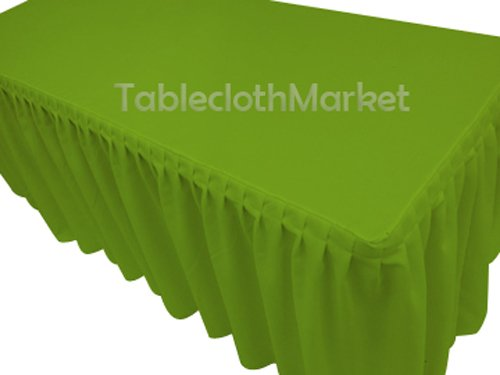 (8' Ft. Fitted Tablecloth Single Pleated Polyester Table Skirt Cover W/top Topper Apple Green)