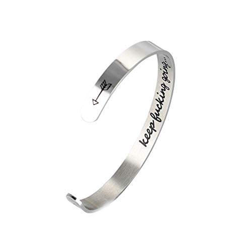 Inspirational Cuff Bracelet,Haluoo Stainless Steel Engraved Keep Going Cuff Bangle Inspirational Mantra Cuff Bracelet Graduation Friendship Gifts for Her Women Men Inspirational Jewelry Gifts (1 PC)