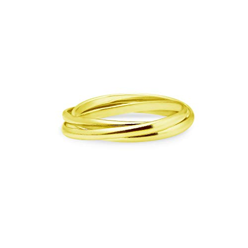 Yellow Gold Flashed Sterling Silver Triple Interlocked Rolling High Polish Band Ring | Size (Triple Band Thumb Ring)