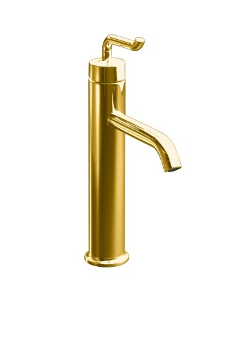 KOHLER K-14404-4-PGD Purist Tall Single-Control Lavatory Faucet with Smile Design Handle, Vibrant Moderne Polished Gold