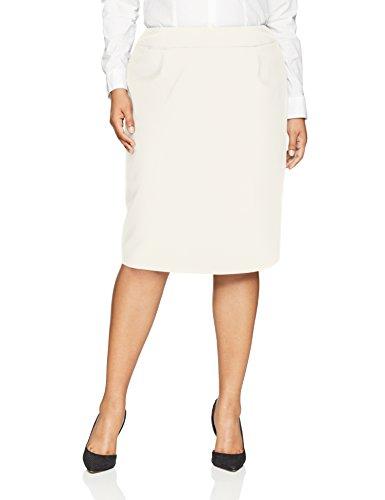 Calvin Klein Women's Plus Size Lux Straight Skirt, Cream, 14W
