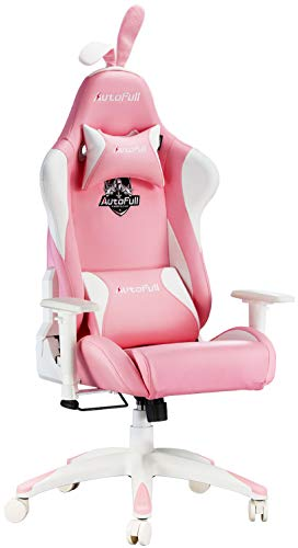 Autofull Pink Gaming Chair Pu Leather High Back Ergonomic Racing Office Desk Computer Chairs With Lumbar Support Rabbit Ears