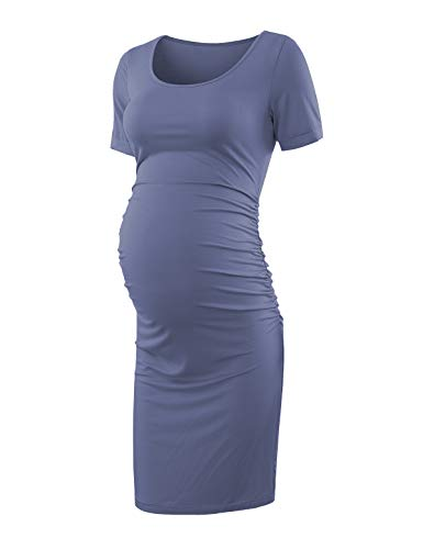 Maternity Dress Bodycon Ruched Wrap Womens Causual Pregnancy Dresses Purple Gray Small (Perfect Ruched Dress)