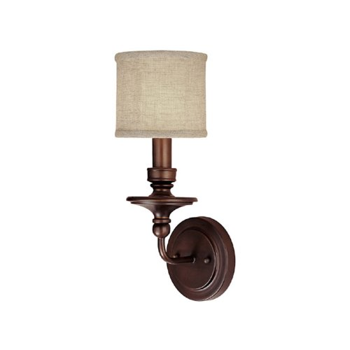 - Capital Lighting 1231BB-450 Wall Sconce with Beige Fabric Shades, Burnished Bronze Finish
