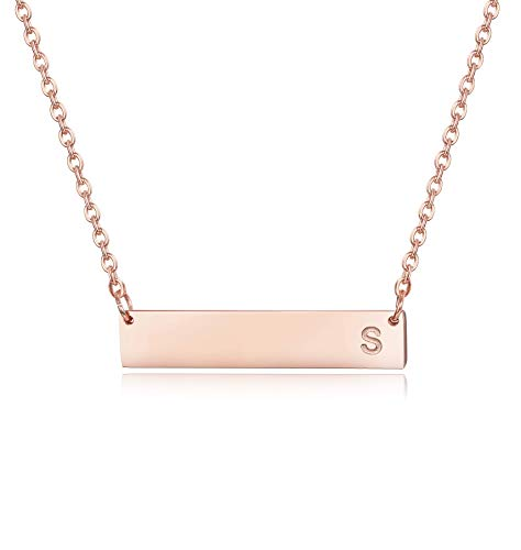 Sllaiss Personalized Initial Bar Necklace for Women Girls 925 Sterling Silver A-Z Alphabet Charm Pendant Necklace Rose Gold Plated -