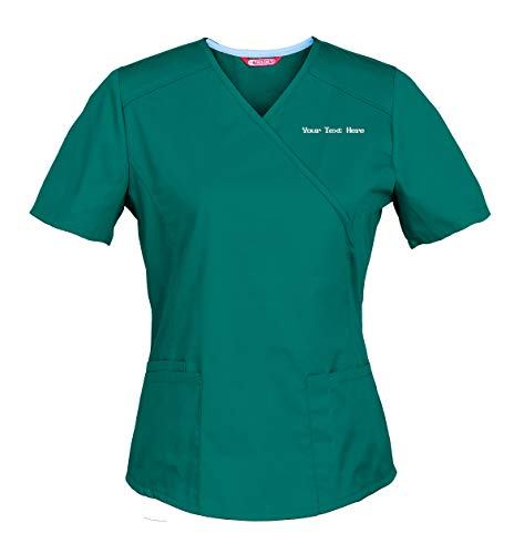 Personalized Customizable Embroidered Women's Medical Scrub Top Teal Blue (Embroidered Mock Wrap Scrub Top)