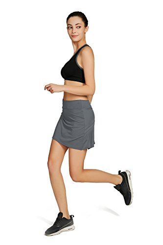 Cityoung Women's Casual Pleated Golf Skirt with Underneath Shorts Running Skortss grey1 by Cityoung (Image #5)