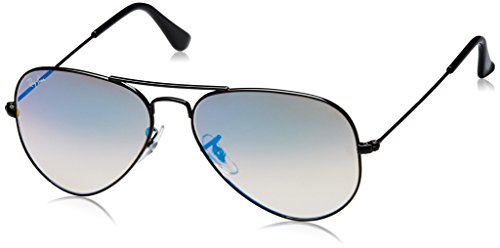 Ray-Ban RB3025 Aviator Flash Mirrored Sunglasses, Shiny Black/Blue Gradient Flash, 55 mm (Aviator 3025 58 002)