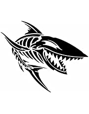 Bil Klistermärken Exteriör 15Cmx12.3Cm Vinyl Shark Bones Samochód Naklejka Szkielet Zęby Naklejka Angry Fish Czarny/Srebrny