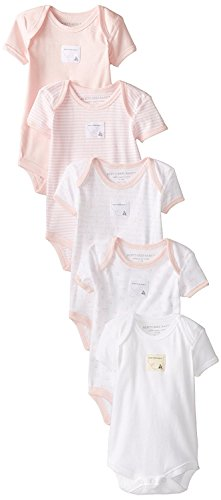 Burt's Bees Baby - Set of 5 Bee Essentials Short Sleeve Bodysuits, 100% Organic Cotton, Blossom Prints (0-3 Months) (Cotton 100% Set Bodysuit)
