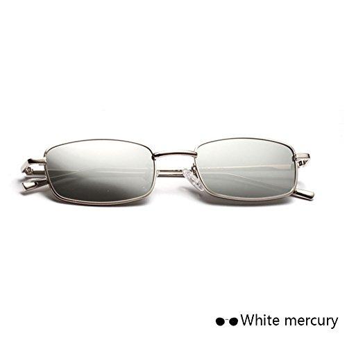 Silver Amarillo De TIANLIANG04 De Lente Gafas Color Única Metal Monturas Sol Visor Externa Estrecho Cíclope Ocean Mujer Chica De De Reflejado Vidrio Para xq1SBx