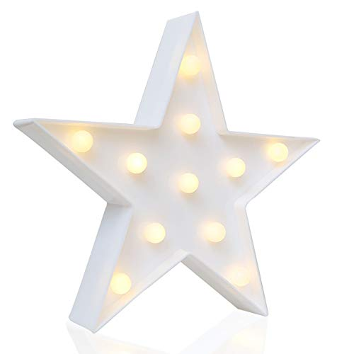 Novelty Place Designer Star Marquee Sign Lights, Warm White LED Lamp - Living Room, Bedroom Table & Wall Christmas Decoration for Kids & Adults - Battery Powered 10 inches -
