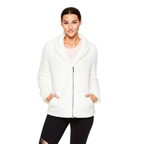 Gaiam Women's Fleece Sherpa Jacket - Zip Up Cold Weather Outerwear Sweater - Sherpa Natural, Medium