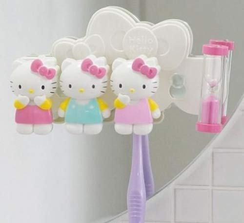 Hello Kitty Toothbrush Holder with 3 Minute Sand Time Clock by YuYu Hello Kitty