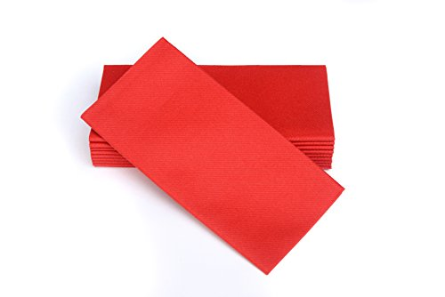 SimuLinen Dinner Napkins  Disposable, Fiesta RED, Cloth-Like  Elegant, yet Heavy Duty Soft, Absorbent & Durable  16x16  Box of 50