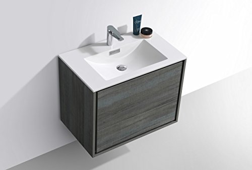 """De Lusso 30"""" Ocean Gray Wall Mount Modern Bathroom Vanity -  - bathroom-vanities, bathroom-fixtures-hardware, bathroom - 31wiyl3FQjL -"""