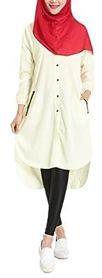 Plaid&Plain Women's Summer Chiffon Muslim Kaftan Abayas Shirt Dress Blouses