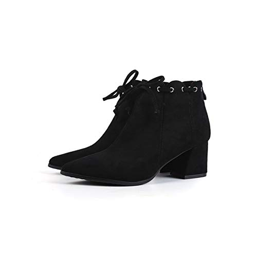 heels heels heel short boots Black boots middle short boots temperament tube high naked 6cm thin LBTSQ Suede pointed qFRZS0Sp