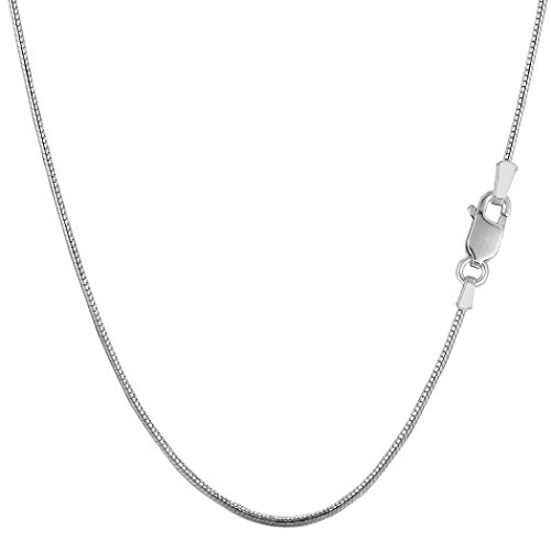 Snake Round 20 Chain (Sterling Silver Rhodium Plated Round Snake Chain Necklace, 1.1mm, 20